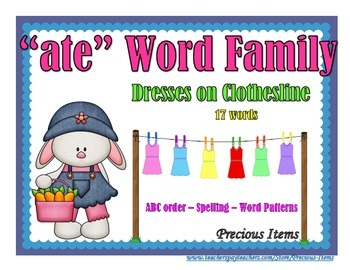 "Dresses on Clothesline - ""ate"" Word Family"