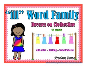 "Dresses on Clothesline - ""ill"" Word Family"