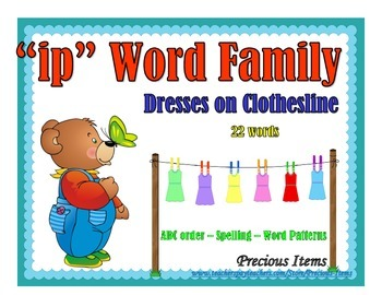 """Dresses on Clothesline - """"ip"""" Word Family"""