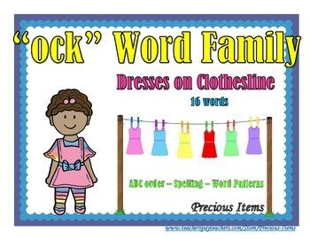 "Dresses on Clothesline - ""ock"" Word Family"