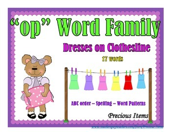 "Dresses on Clothesline - ""op"" Word Family"