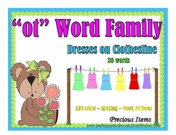 "Dresses on Clothesline - ""ot"" Word Family"