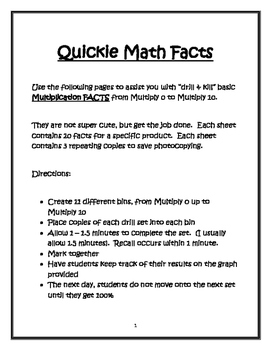 Drill and Kill - Multiplication Facts from 0-10