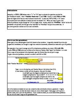 Drill worksheet--Addition or Multiplication