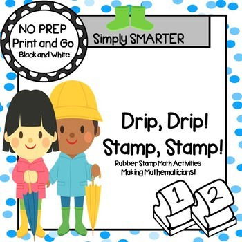 Drip, Drip!  Stamp, Stamp!:  NO PREP April Showers Themed