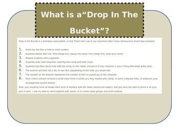 Drop In The Bucket Formative Assessment