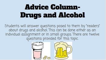 Drug and Alcohol Advice Column
