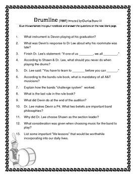 Drumline Comprehension Sheet