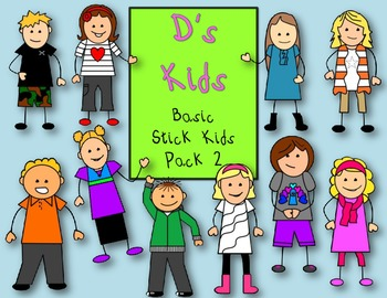D's Kids Clip Art Basic Stick Kids Pack 2 For Personal/Com
