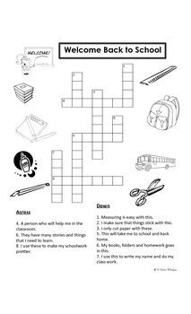 Dual Language Bilingual First Grade Crossword Puzzle
