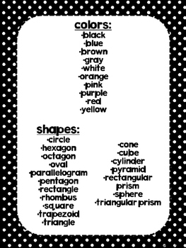 Dual Language Black Polka Dot Background shapes and colors