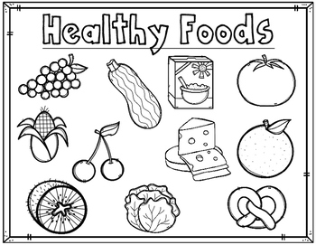 Dual Language Healthy Foods Coloring Sheets:  Activities f