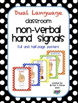 Dual Language Primary Colored Polka Dot Nonverbal Hand Sig