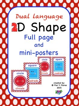 Dual Language Red/White Polka Dot 2D Shape Posters