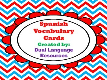 Dual Language Spanish Vocabulary Cards A-Z in red frame Go