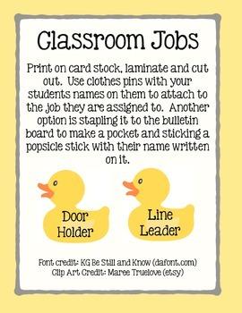 Duck Classroom Jobs