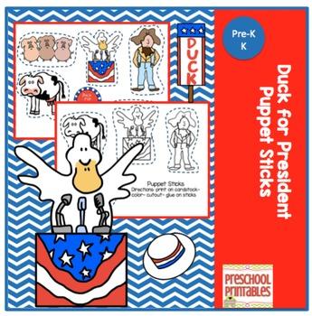 Duck for President Puppet Sticks