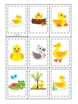 Ducks themed Memory Matching preschool activity.  Daycare