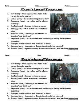 Duffy's Jacket Vocabulary List and Quiz