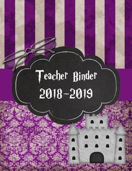 Dumbledore The Headmaster Teacher Binder 2016-2017 Purple Damask