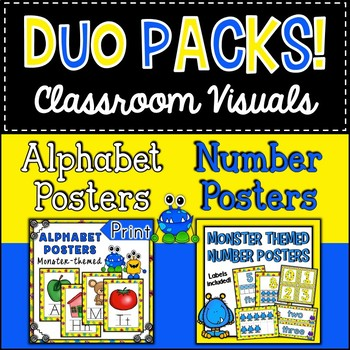 Duo Pack Monsters Alphabet and Number Posters