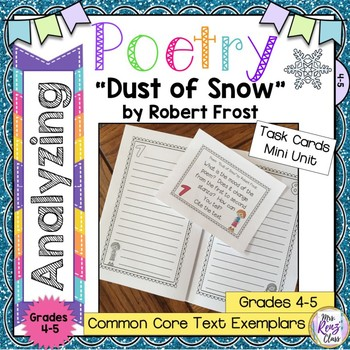"""Dust of Snow"" by Robert Frost Poetry Analysis Task Cards"