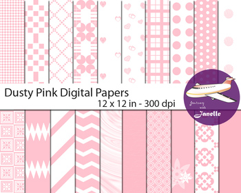 Dusty Pink Digital Papers for Backgrounds, Scrapbooking  &