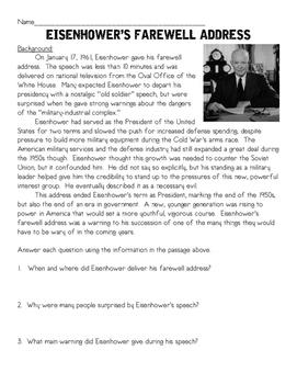 Dwight D. Eisenhower's Farewell Address Analysis, Comprehe