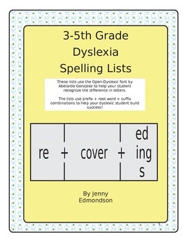 Dyslexia Spelling Lists 3-5th Grade
