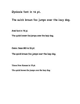 Dyslexie Font Comparison