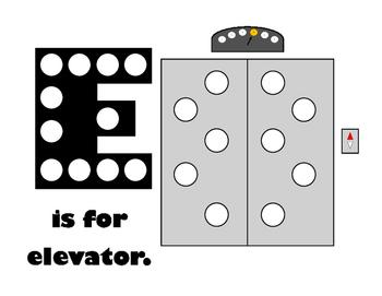 E is for Elevator Pom Pom Mat