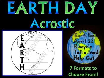EARTH DAY ACROSTIC POEM - 7 formats to choose from WRITING