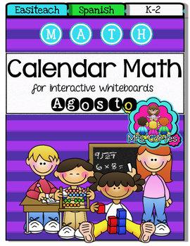 EASITEACH Calendar Math- Agosto (Spanish)