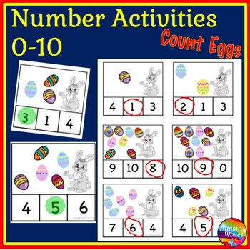 EASTER Math Center Activity Counting 0-10 Number Recogniti