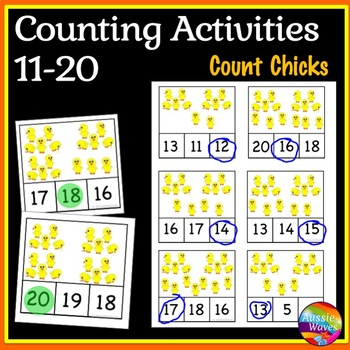 EASTER Math Center Activity Counting Numbers 11-20 Number