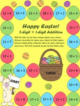 EASTER Math Game 2 digit plus 1 digiti