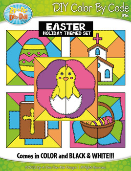 EASTER Quilt Create Your Own Color By Code Clipart Set