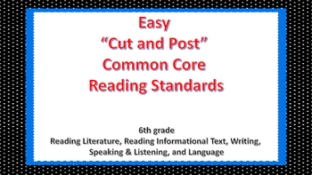 "EASY ""Cut and Post"" Common Core Reading Standards (6th grade)"