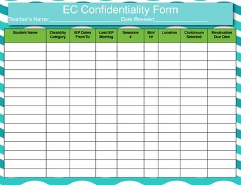 IEP EC Confidentiality Form