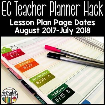 EC Teacher Planner Hack - Lesson Plan Page Dates