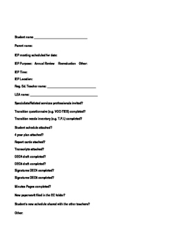 EC Teacher's IEP Meeting Preparation Checklist