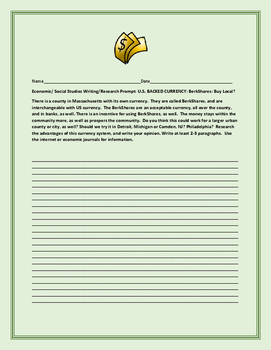 ECONOMIC/SOCIAL STUDIES WRITING/RESEARCH PROMPT: BERKSHARES
