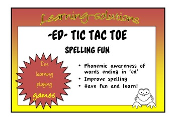 ED Tic Tac Toe - A GAME to learn to spell ED ENDINGS