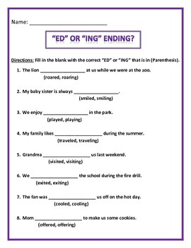 ED or ING Ending.  Common Core.  4 pages of 8 questions ea