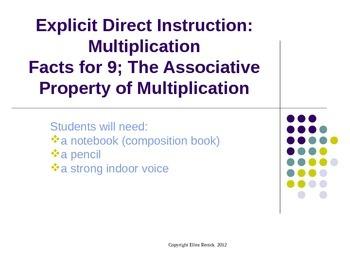 EDI CCSS Multiplication Associative Property Lesson, x9 Di