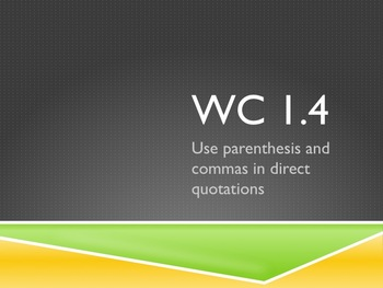 EDI PowerPoint (WC 1.4 - Commas in Direct Quotation)
