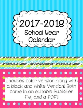 EDITABLE 2016/2017 School Year Calendar