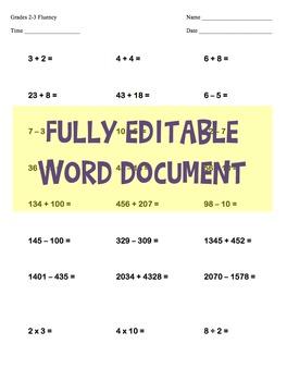 EDITABLE -  2nd & 3rd Grade One Page Math Skills Fluency Test