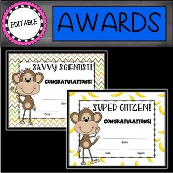 Editable Monkeys End of the Year Awards