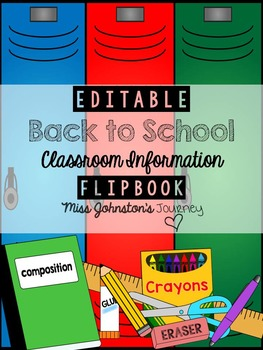 Back to School Class Information Flipbook EDITABLE